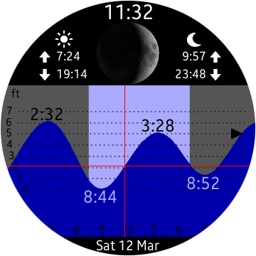 Tide Table Chart For Android Wear Smartwatch Moto 360 Huawei Lg